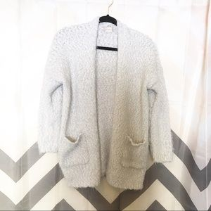 Altar'd State fuzzy white open cardigan